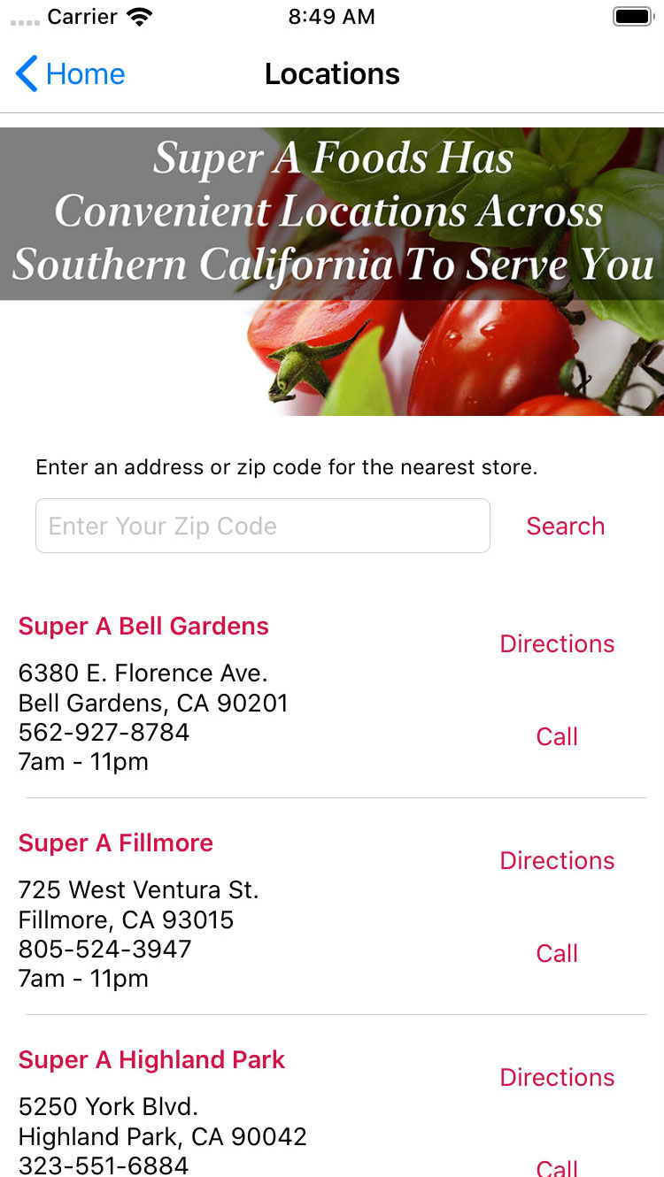 Super A mobile app sample screen shot, store locations
