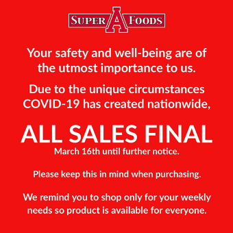 Due to COVID-19 all sales are final for your safety.